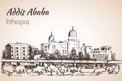 Paysage urbain d'Addis Ababa - Ethiopie croquis Images libres de droits