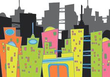 Paysage urbain d'amusement Image stock