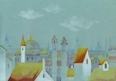 Paysage urbain d'aquarelle Images stock
