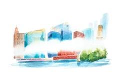Paysage urbain d'aquarelle avec les maisons et l'illustration d'aquarelle de bâtiments Images libres de droits