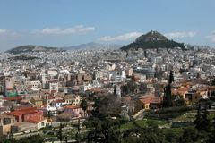 Paysage urbain d'Athènes   Images stock