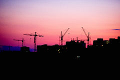 Paysage urbain d'Odessa Evening d'un haut plancher sur l'extérieur Photo libre de droits
