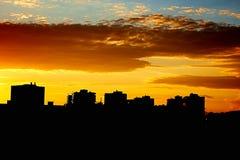 Paysage urbain d'Odessa Evening d'un haut plancher sur l'extérieur Photos stock