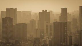 Paysage urbain dans le brouillard Photographie stock libre de droits