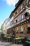 Paysage urbain de Bad Kreuznach avec ses maisons et restau historiques photos libres de droits