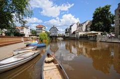 Paysage urbain de Bad Kreuznach avec ses passerelles historiques et photos stock
