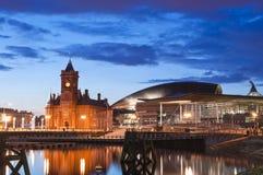 Paysage urbain de baie de Cardiff Photos libres de droits