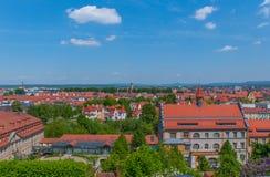 Paysage urbain de Bamberg avec le ciel bleu Images libres de droits