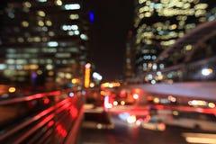 Paysage urbain de Bangkok à la nuit, bokeh brouillé de photo Photos stock