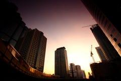 Paysage urbain de Bangkok de coucher du soleil, Thaïlande Photo stock