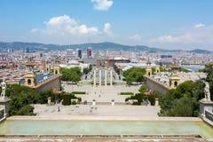 Paysage urbain de Barcelone de colline de Montjuic, Espagne Photographie stock