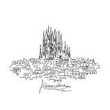 Paysage urbain de Barcelone, croquis pour votre conception Photographie stock