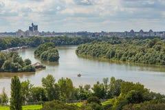 Paysage urbain de Belgrade du Sava et du Danube, Serbie images libres de droits