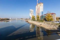Paysage urbain de bord de mer du pilier central dans Krasnodar en m photographie stock