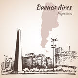 Paysage urbain de Buenos Aires avec l'obélisque l'argentine croquis illustration stock