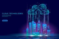 Paysage urbain de calcul de la ville 3D de nuage futé de lumière Affaires futuristes en ligne stockage d'échange de données intel illustration libre de droits