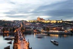 Paysage urbain de château de Prague Photo libre de droits