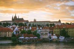 Paysage urbain de château de Prague Photographie stock