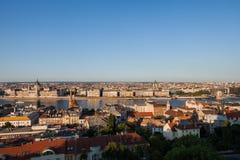 Paysage urbain de coucher du soleil de Budapest Images libres de droits