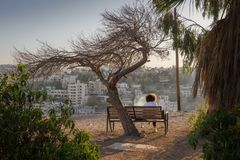 Paysage urbain de coucher du soleil d'Amman Jordan Middle East image stock