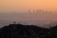 Paysage urbain de coucher du soleil de Los Angeles Westwood de Griffith Park Photos stock
