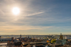 Paysage urbain de coucher du soleil de Northampton R-U Image stock