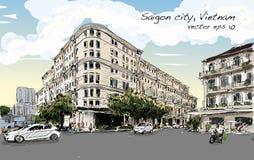 Paysage urbain de croquis d'exposition Union Square de Ho Chi Minh de ville de Saigon Photographie stock