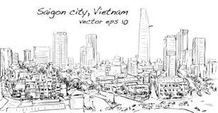 Paysage urbain de croquis de capi de bâtiment d'exposition de Ho Chi Minh de ville de Saigon Image stock