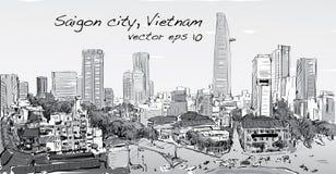 Paysage urbain de croquis de capi de bâtiment d'exposition de Ho Chi Minh de ville de Saigon Photos libres de droits