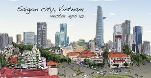 Paysage urbain de croquis de capi de bâtiment d'exposition de Ho Chi Minh de ville de Saigon Photographie stock