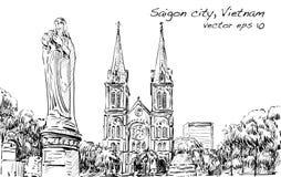 Paysage urbain de croquis de chat de Saigon Notre-Dame d'exposition de ville de Ho Chi Minh Photo stock