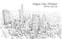 Paysage urbain de croquis de ciel d'exposition de Ho Chi Mihn Vietnam de ville de Saigon Photo stock