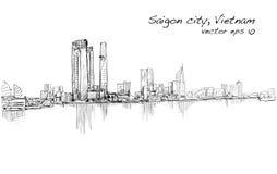 Paysage urbain de croquis de ciel d'exposition de Ho Chi Mihn Vietnam de ville de Saigon Photo libre de droits