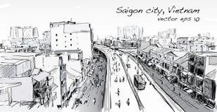 Paysage urbain de croquis de ciel d'exposition de Ho Chi Mihn Vietnam de ville de Saigon Photos stock