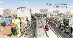 Paysage urbain de croquis de ciel d'exposition de Ho Chi Mihn Vietnam de ville de Saigon Images libres de droits