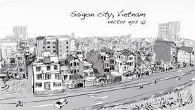 Paysage urbain de croquis de ciel d'exposition de Ho Chi Mihn Vietnam de ville de Saigon Image stock