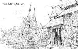 Paysage urbain de croquis de style thaïlandais de l'Asie d'exposition de temple, illustration VE Images libres de droits