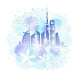 Paysage urbain de Dubaï et peinture d'arabesque Image libre de droits