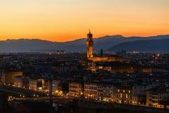 Paysage urbain de Florence au coucher du soleil Image stock