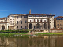 Paysage urbain de Florence. Galerie d'Uffizi Photo stock