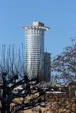 Paysage urbain de Francfort sous la neige Image stock