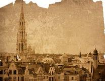 Paysage urbain de l'Europe - borne limite de Bruxelles Photo libre de droits