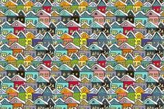 Paysage urbain de l'hiver Beaucoup de maisons multicolores tirées par la main illustration stock
