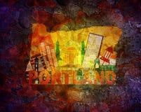 Paysage urbain de l'Orégon dans l'illustration grunge de fond de carte Images libres de droits
