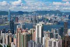 Paysage urbain de la ville de Hong Kong en Hong Kong, Chine Photo libre de droits
