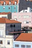 Paysage urbain de Lisbonne avec les façades colorées par pastel images libres de droits