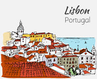 Paysage urbain de Lisbonne - croquis tiré par la main Images libres de droits