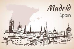 Paysage urbain de Madrid avec la carte Image libre de droits