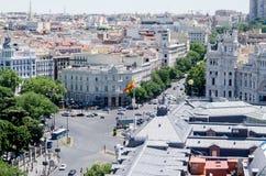Paysage urbain de Madrid le jour chaud d'été Images libres de droits