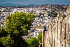 Paysage urbain de Malaga Images libres de droits